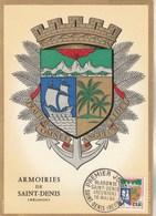 REUNION Carte Maximum Yvert 346B  Blason St Denis 16/5/1964 - Réunion (1852-1975)