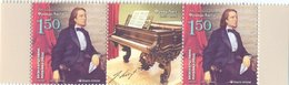 BHRS 2011-548 200A°FRANZ LIST, BOSNA AND HERZEGOVINA-R.SRBSKA, 2 X 1v + Label, MNH - Musica