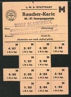 Raucher-Karte Stuttgart, Stempel Wolf Blascheck, Stuttgart-Zuffenhausen, Einige Marken Abgetrennt - Alte Papiere