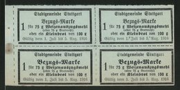 Lebensmittelmarken Stuttgart 1916, 4 Bezugsmarken Für Mehl Oder Ein Kleinbrot - Alte Papiere