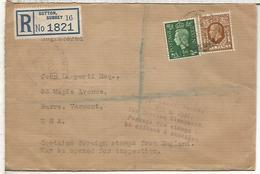 REINO UNIDO SUTTON CC CERTIFICADA A USA MARCA ADUANAS CUSTOM ZOLL 1939 - 1902-1951 (Re)