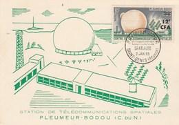 REUNION Carte Maximum Yvert 355 Pleumeur Bodou - Espace - Lettres & Documents