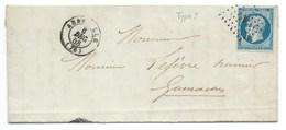 N° 14 BLEU NAPOLEON SUR LETTRE / ABBEVILLE SOMME POUR GAMACHES 6 DEC 1858 - Storia Postale
