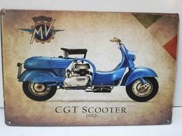 Rare Plaque Tôle 20X30 MV AGUSTA CGT SCOOTER 1952 Moto Vintage Style Email - Motos
