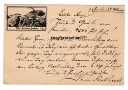 Die Schneegruben, Vorläufer, Agnetendorf 1884, Riesengebirge, Ganzsache Deutsche Reichs Post - Schlesien