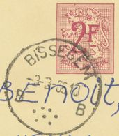 BELGIUM BISSEGEM B (Kortrijk) SC With Dots 1965 Postal Stationery 2 F, PUBLIBEL 2108 VARIETY: Red Dot In Upper Margin!! - Stamped Stationery