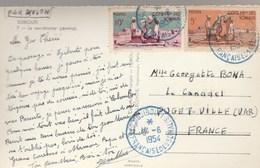 COTE DES SOMALIS YT 277 +279 SUR CPSM AVION DJIBOUTI CACHET BLEU 8/6/54 POUR PUGET VILLE FRANCE - Lettres & Documents