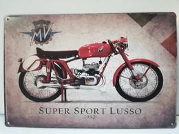 Rare Plaque Tôle 20X30 MV AGUSTA Super Sport Lusso 1952 Moto Vintage Style Email - Motos