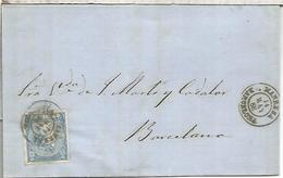 MANRESA A BARCELONA 1866 ENVUELTA SELLO ISABEL II - 1850-68 Kingdom: Isabella II