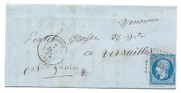 N° 14 BLEU NAPOLEON SUR LETTRE / POISSY POUR VERSAILLES 7 DEC 1858 / VARIETE DEVANT LA BARBE - Storia Postale