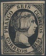 SPAIN -ESPAŇA, 1851, Mi 6w, Yt 6, Oblitere - Used Stamps