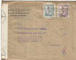MADRID CC A BERLIN 1943 SELLOS PERFORADOS PERFIN ELZABURU CON CENSURA MILITAR ALEMANA B - 1931-50 Cartas