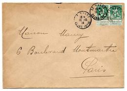 Paire TP 110 Obl. FRANCAISE LE HÂVRE/SEINE INFre 18.10.14 S/Lettre V. Paris - WW I
