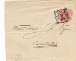 Suriname - 1905 - Vierkantstempel BEN. COMMEWIJNE Op 5 Cent Wilhelmina, Envelop G1 Naar Constantia - Gebreken / Defects - Suriname ... - 1975