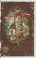 Souvenir D'amitié. Deux Colombes, Enveloppe, Panier De Fleurs. Dorée. Glacée. - Souvenir De...