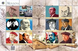 Moldova 2019, World Literature, Poet Pablo Neruda, Sheetlet Of 12v - Moldova