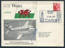 1977 GB Cardiff, Air Wales Signed Flight Cover - Hawarden Chester - 1952-.... (Elizabeth II)