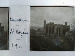 CARCASSONNE  - Cathédrale Saint Nazaire - Plaque De Verre Stéréoscopique. 45 X 107 1911. - TBE - Diapositiva Su Vetro