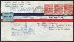 USA First Flight FAM 18 Trans-atlantic Airmailservice Via France To Belgium 1939 - Correo Aéreo