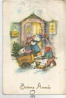 Petit Facteur Apporte Des Cadeaux. Chien Aboie, Enfants Renversent Les Cadeaux. - Poste & Facteurs