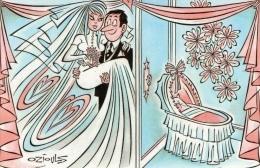 CPM Illustrateur HENRI OZIOULS MARIAGE DE VIVIANE ET JEAN FRANÇOIS EN 1989 SAINT PAUL LES DAX - Oziouls
