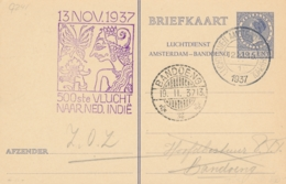 Nederland - 1937 - 10 Cent Veth, Luchtdienst A'dam-Bandoeng, Briefkaart G241 Van Amsterdam Naar Bandoeng / Ned. Indië - Postal Stationery