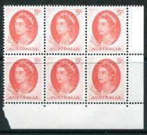 Australia 1963-65 QEII Definitives - 5d Red - Block Of 6 MNH (SG 354c) - 1952-65 Elizabeth II : Pre-Decimals