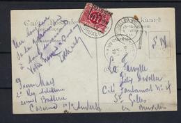 N°TX13A GESTEMPELD OP KAART Bruxelles 1919 COB € +30,00 - Taxes