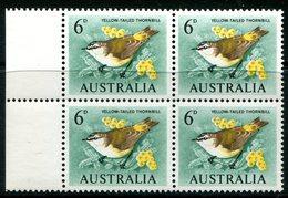 Australia 1964-65 Birds - 6d Yellow-tailed Thornbill - Block Of 4 MNH (SG 363) - Mint Stamps