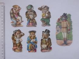 CHROMO DECOUPIS: SINGE Humanisé Lot 6 Différents + 1 CHIEN - Jeu Carte Tabac Anthropomorphisme Domestique BESNIER - Animals