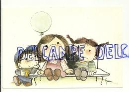 Trois Enfants Sur Un Banc, Petit Chat, Ballon. Signée Gerda Boudewijn - Autres Illustrateurs