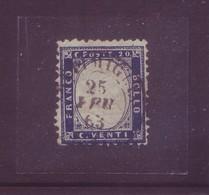 Italia Regno 1863 - Vittorio Emanuele II, 20c Indaco, Usato. Sassone 2 - Gebraucht
