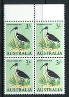 Australia 1964-65 Birds - 3/- Ibis - Block Of 4 MNH (SG 369) - 1952-65 Elizabeth II : Pre-Decimals