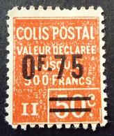 France 1928 Colis Postaux Valeur Déclarée Surchargé Overprinted Yvert 91 (*) MNG - Ungebraucht