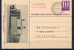 Cartes Postale Entiers Obl. Bureau Poste Automobile FRIBOURG Place De La Gare 10.5.37 - Entiers Postaux