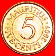 + PORTRAIT (1987-2016): MAURITIUS ★ 5 CENTS 2007 MINT LUSTER! LOW START ★ NO RESERVE! - Mauritius
