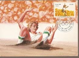 Brazil & Maxi Card, Los Angeles Olympics, Athletics Jumping, São Paulo 1984 (1649) - Jumping