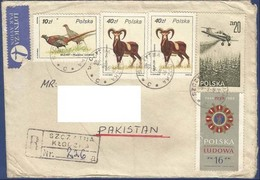 POLAND REGISTERED POSTAL USED AIRMAIL COVER TO PAKISTAN ANIMAL ANIMALS BIRD BIRDS AIRPLANE - Ohne Zuordnung