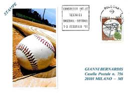ITALIA - 1991 BOLOGNA Congresso Tecnici Di Baseball E Softball - Annullo Meccanico A Targhetta - Baseball
