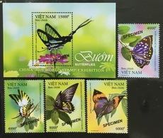 Viet Nam Vietnam MNH Specimen Stamps & A Souvenir Sheet 2019 : Butterfly (Ms1109) - Viêt-Nam