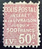 France 1926 Colis Postaux Intérêt à La Livraison Yvert 72 (*) MNG - Paketmarken
