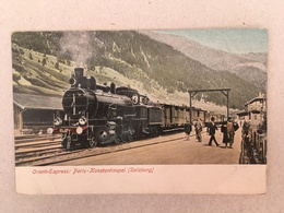 ORIENT-EXPRESS : PARIS - KONSTANTINOPEL - STATION SALZBURG - TRAINS, TREINEN, RAILWAY - Gares - Avec Trains