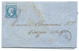 N° 22 BLEU NAPOLEON SUR LETTRE / AUBUSSON POUR VIERZON 1 DEC 1866 - Postmark Collection (Covers)