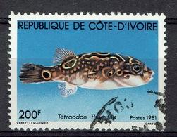 Ivory Coast, Green Pufferfish, 1981, VFU - Ivory Coast (1960-...)