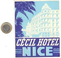 ETIQUETA DE HOTEL  - CECIL HOTEL  -NICE  -FRANCIA - Etiquetas De Hotel