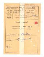Ticket / Billet De Chemin De Fer - Train - Voyage, Paris - Lyon - Milano (Italie) 1961 (fr81) - Chemins De Fer