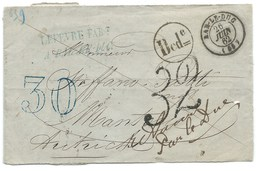 MP BAR LE DUC MEUSE 1874 POUR ARL'AUTRICHE / TAXE 30 DOUBLE TRAIT BLEUE / PARTIE DE LETTRE - 1849-1876: Classic Period