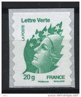 N° 604 ( 4593 )Marianne De Beaujard Verte Adhesif 2011  Faciale 20g - Adhésifs (autocollants)