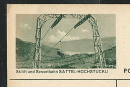 Carte Illustrée Neuve N° 182 -  0341 E  Skilift Und Sesselbahn SATTEL-HOCHSTUCKLI (Zumstein 2009) - Enteros Postales