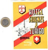 ETIQUETA DE HOTEL  -HOTEL FIRENZE & ZURIGO  -GENOVA  -ITALIA - Etiquetas De Hotel